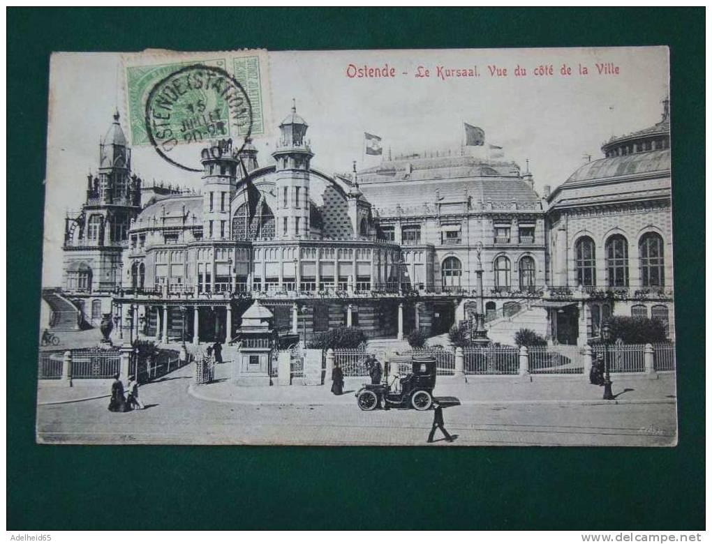 Oostende Ostende Ed. V.G. Timbre En Front, Postzegel Vooraan, Mooie Auto, Belle Voiture, Kursaal - Oostende