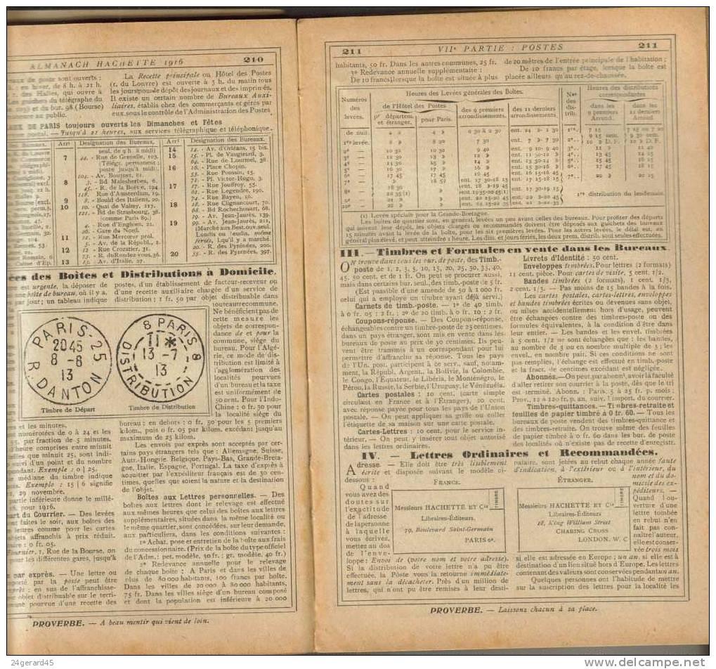 ALMANACH HACHETTE 1916 - Une Multitude D´informations Introuvable Ailleurs, L´internet De L´époque - Livres, BD, Revues