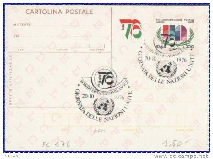 """Intero Postale - ITALIA 76 - 1976 - L. 100 - Cat. FILAGRANO """"C176"""" - GIORNATA NAZIONI UNITE MILANO - 20/10/1976 - 6. 1946-.. Republic"""