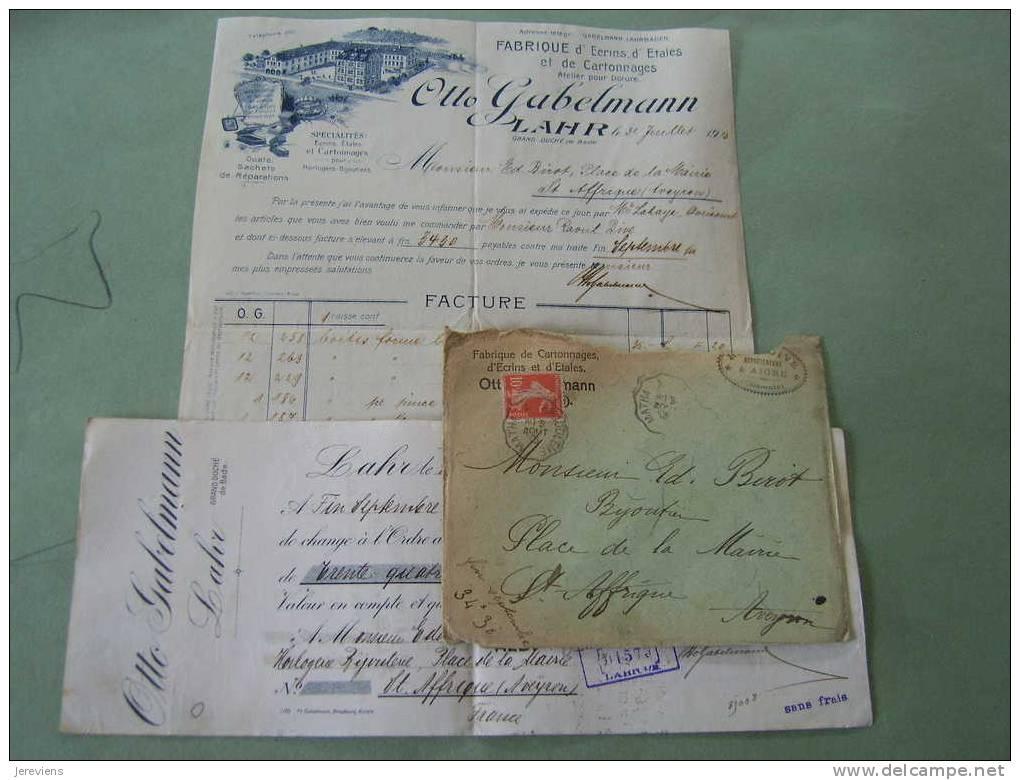 Fabrique D'Ecrins D'etales Et Cartonnages Otto Gabelmann  Lahr Grd Duche De Bade 1913 - Imprimerie & Papeterie