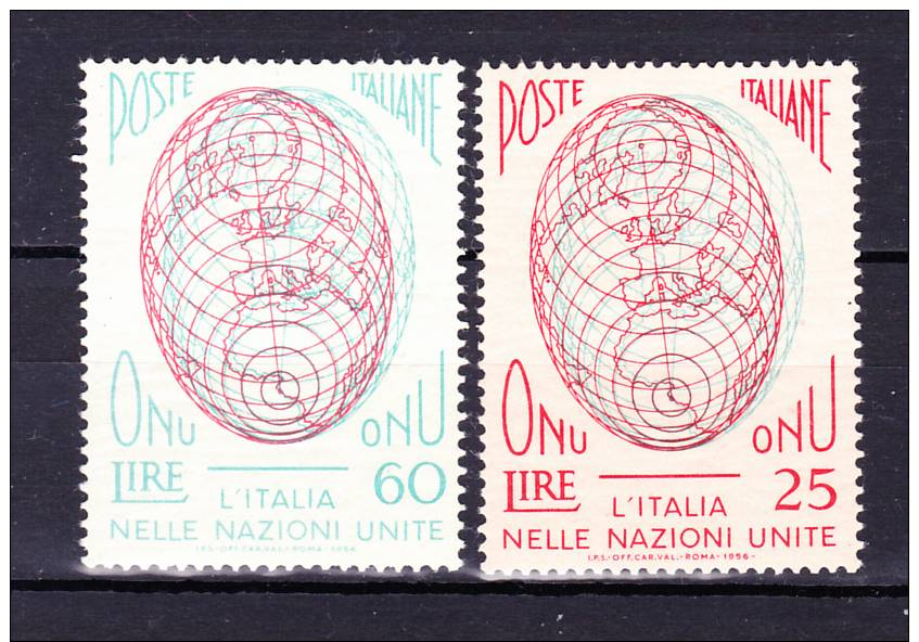 ITALY  1956 , Post Saving Bank  , Y&T  # 734/35 , Cv  1,00 E       , ** MNH , V V F - 6. 1946-.. Repubblica