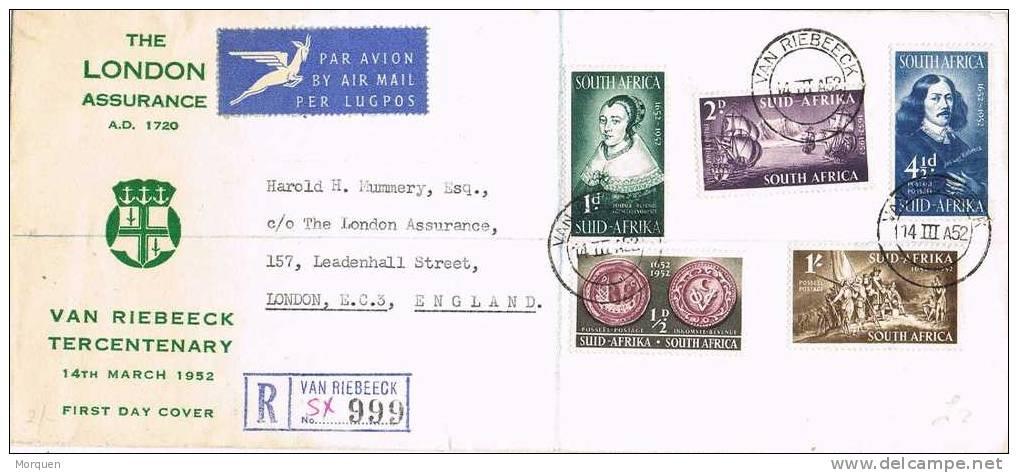 2188. Carta Aerea Certificada VAN RIEBEECK (South Africa)  1952 - África Del Sur (...-1961)