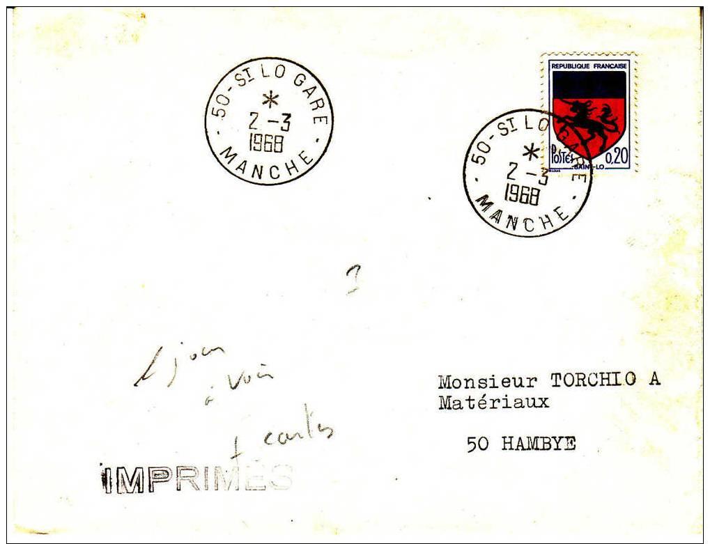 PNU 1503 1er Jour Imprimés.Rabat Ouvert  Saint-LO GareHambye - 1961-....