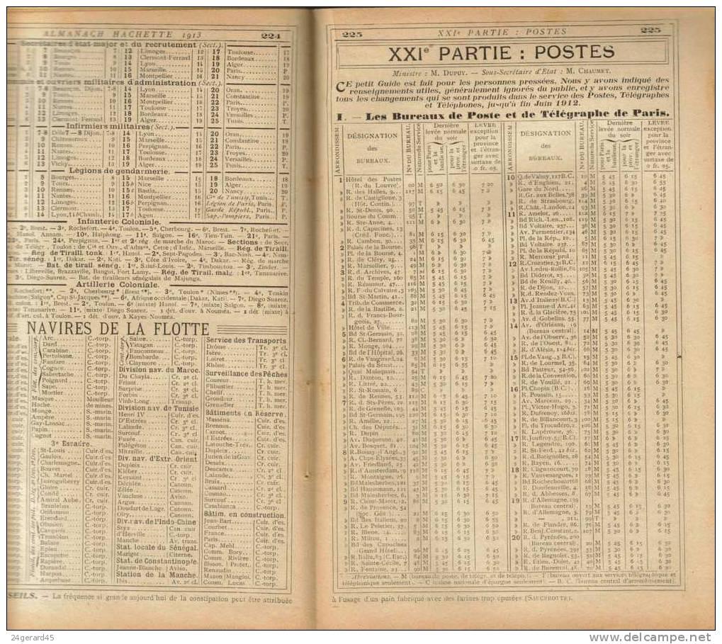 ALMANACH HACHETTE 1913 - Des Informations Renseignements Exceptionnels Pour L´époque L´ancêtre D´Internet - Non Classés