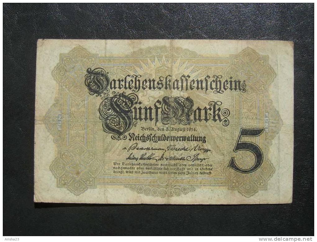 NoT. Darlehenskassenschein, Berlin 5 Mark 1914 - Ser. X 798551 - 6 Digit Serial - [ 2] 1871-1918 : German Empire