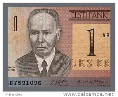1 KROON Banknote Of ESTONIA 1992 - TOOMPEA Castle - UNC - Estonia