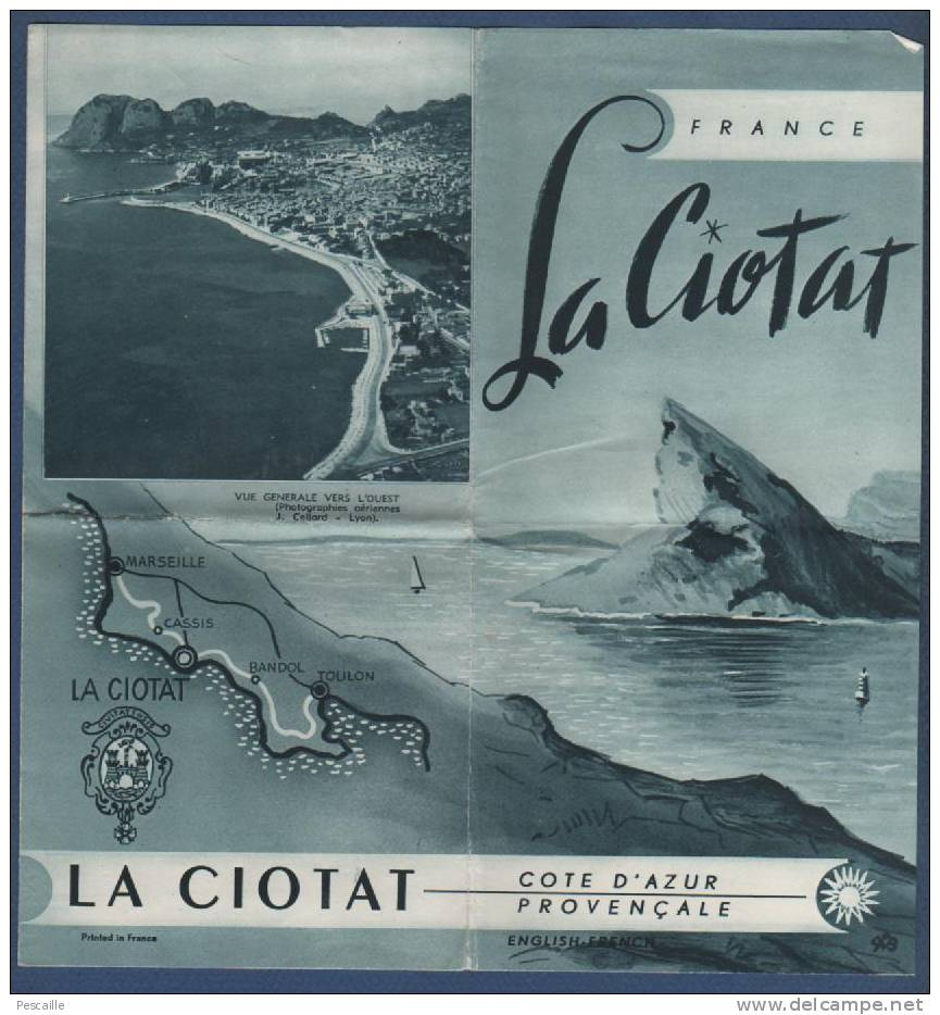 13 BOUCHES DU RHONE - 1956 - DEPLIANT TOURISTIQUE - LA CIOTAT - ADRESSES DE COMMERCES - Historical Documents