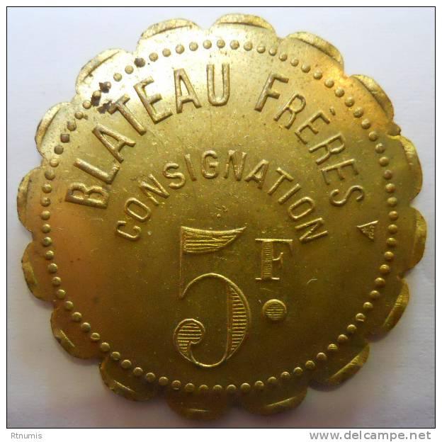 Paris 75 Blateau Frères 5 Francs SUPERBE - Noodgeld