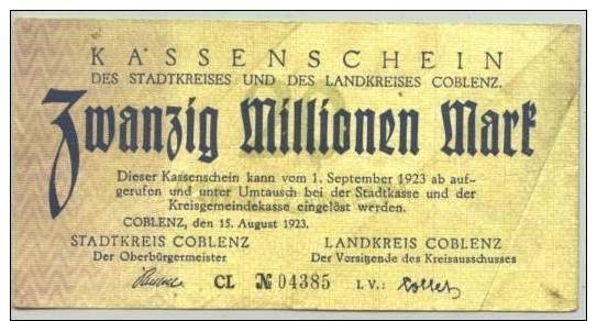 (1018325) 20 Millionen Mark, Coblenz, 15. August 1923 # Koblenz, Notgeld, Inflation, Geldschein - [11] Emissioni Locali