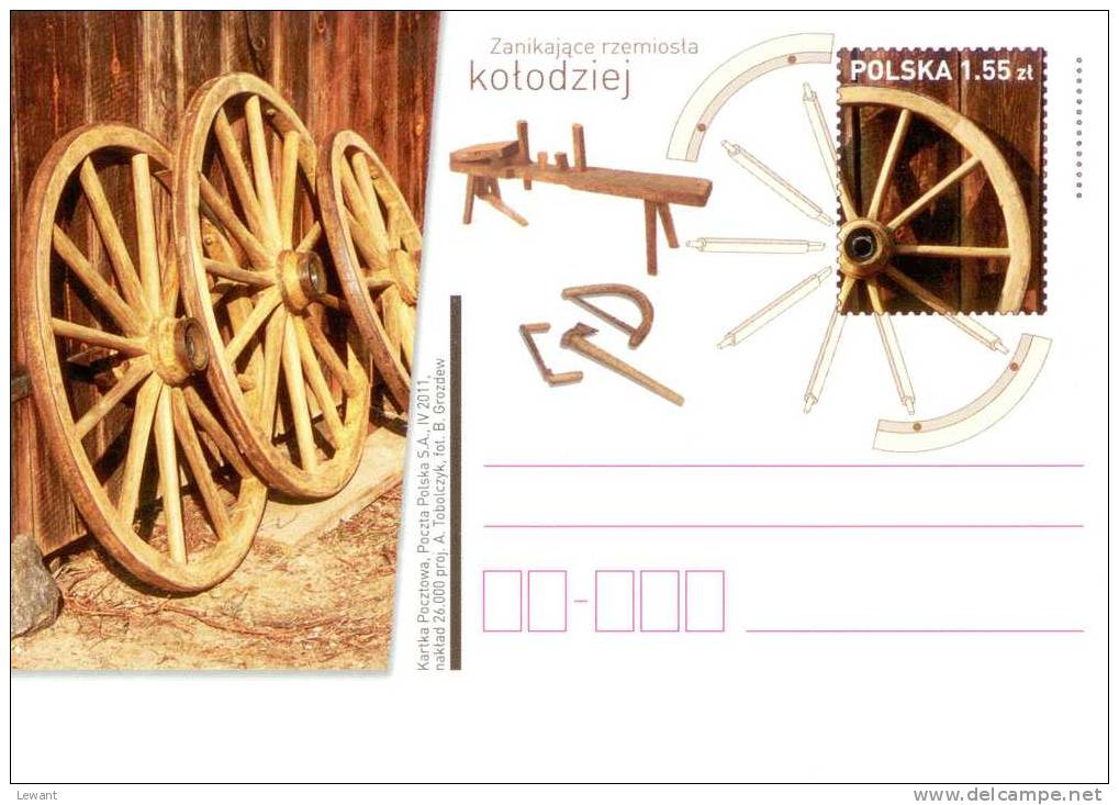 POLAND - Postcard - 2011.04.29. Cp 1574 Declining Crafts: Wheelwright - Enteros Postales