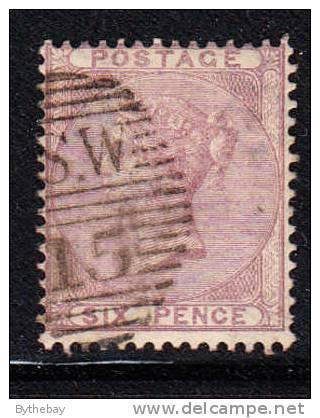 Great Britain Used Scott #27 6p Victoria - Oblitérés