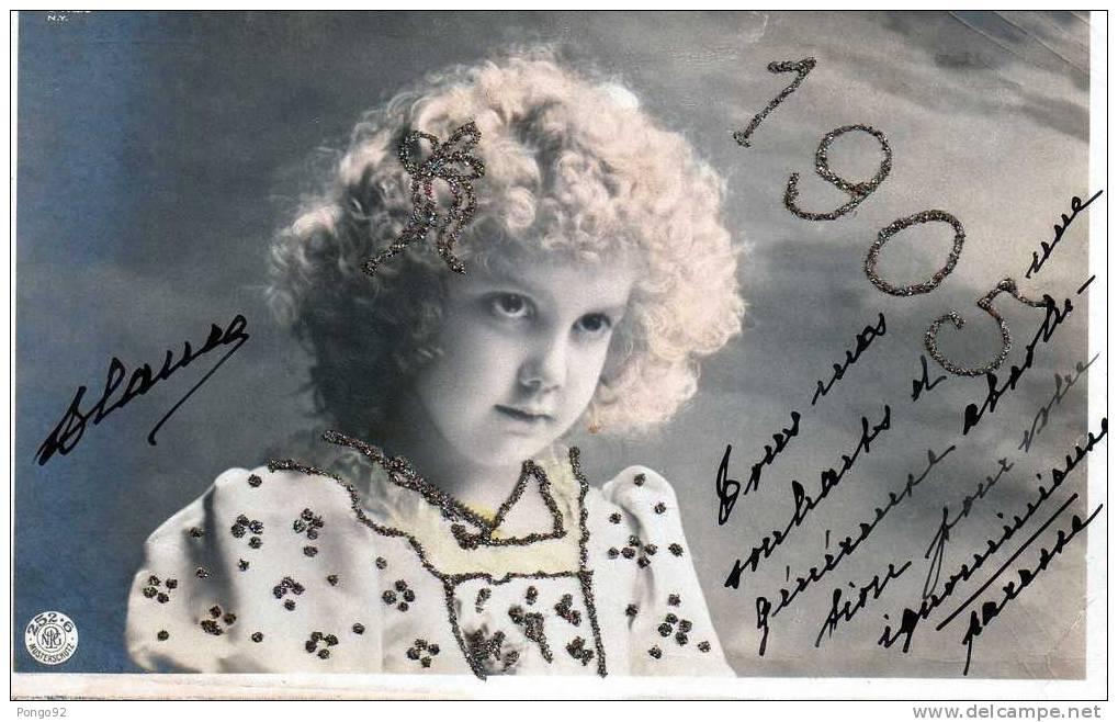 """Cpa  Espagnole """"bonne Année""""  1905, Une Fillette Dont La Robe Est Garnie De Petits Brillants En Relief (2.11) - Enfants"""