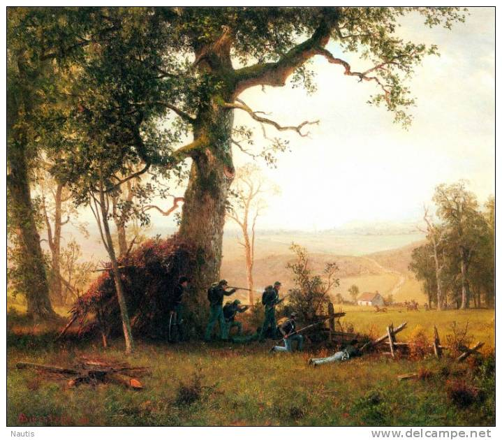Art Print Reproduction On Original Painting Canvas, New Picture, Bierstadt, Small War, Postal Service Strike, Virginia - Prints & Engravings