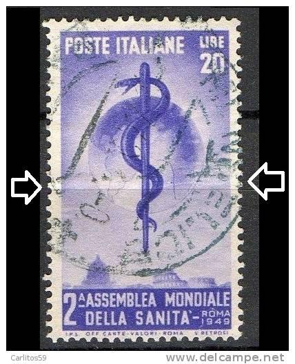 """Italia - 1949 """".... Sanità  L. 20"""" Usato - 6. 1946-.. Republic"""