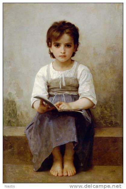 Art Print Reproduction On Original Painting Canvas, New Picture, Bouguereau, Difficult Lesson, Girl, Book - Prints & Engravings