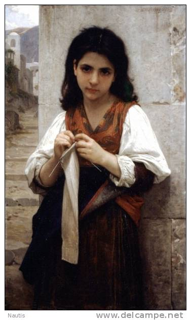 Art Print Reproduction On Original Painting Canvas, New Picture, Bouguereau, Tricoteuse, Knitting - Prints & Engravings