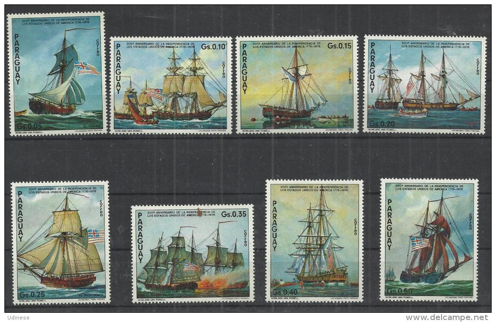 PARAGUAY 1975 - USA INDEPENDENCE FIGHTING SHIPS -  CPL. SET  -  * MNH MINT NEUF NUEVO - Bateaux