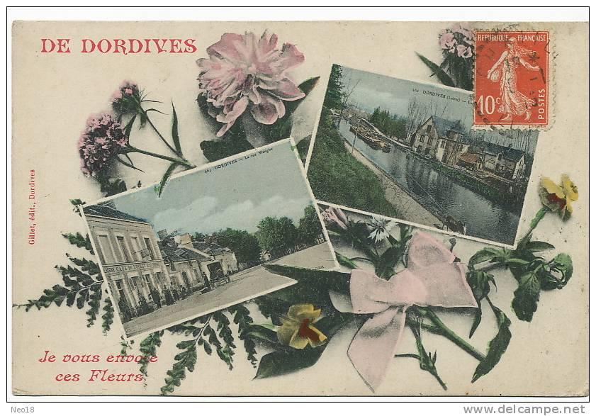 Dordives De D. Je Vous Envoie Ces Fleurs 2 Vues Rue Mangine Canal Halage Peniche Avec Ane - Dordives