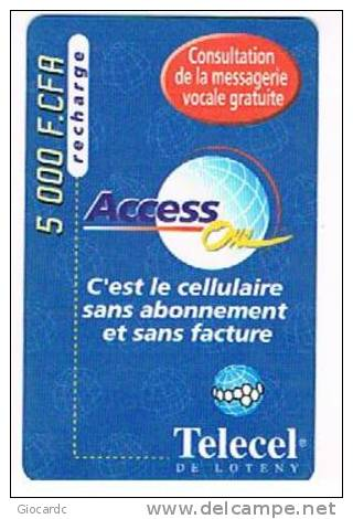 COSTA D'AVORIO (IVORY COAST) - TELECEL / LOTANY  (GSM RECHARGE) - ACCESS: 5000  - USED  -  RIF. 512 - Costa D'Avorio