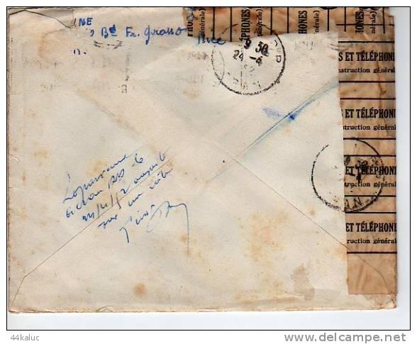 Enveloppe Partie De Nice En 1952 Pour Oran Avec Consolidation Papier Postes Et Téléphones - Covers & Documents