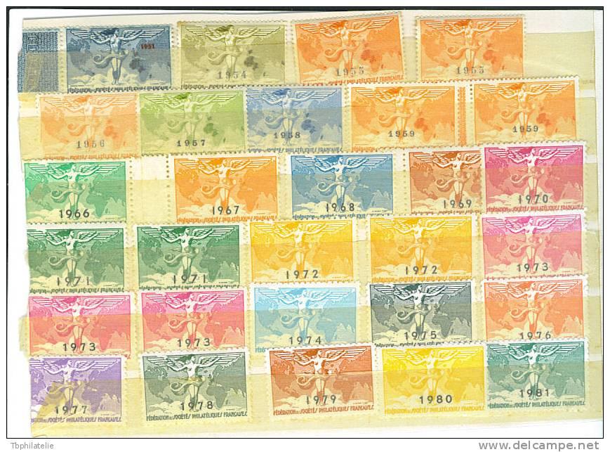 VEND LOT DE 29 VIGNETTES DE LA FEDERATION DES SOCIETES PHILATELIQUES FRANCAISES , 1931 - 1981 - Unclassified