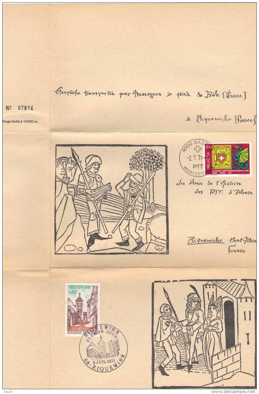 France , FDC Riquewihr Alsace ,Dépèche Transportée à Pied Depuis Bâle ( 1484 ),poème Extrait De La Nef Des Fous (1494) - 1970-1979