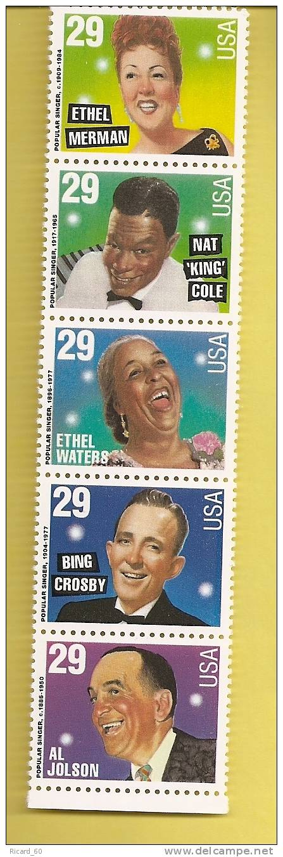 Timbre(s) Neuf(s) **des Usa, N°2366-70 Y Et T, Chanteurs, Bing Crosby, Al Jolson, Ethel Merman..,1994 - Unused Stamps