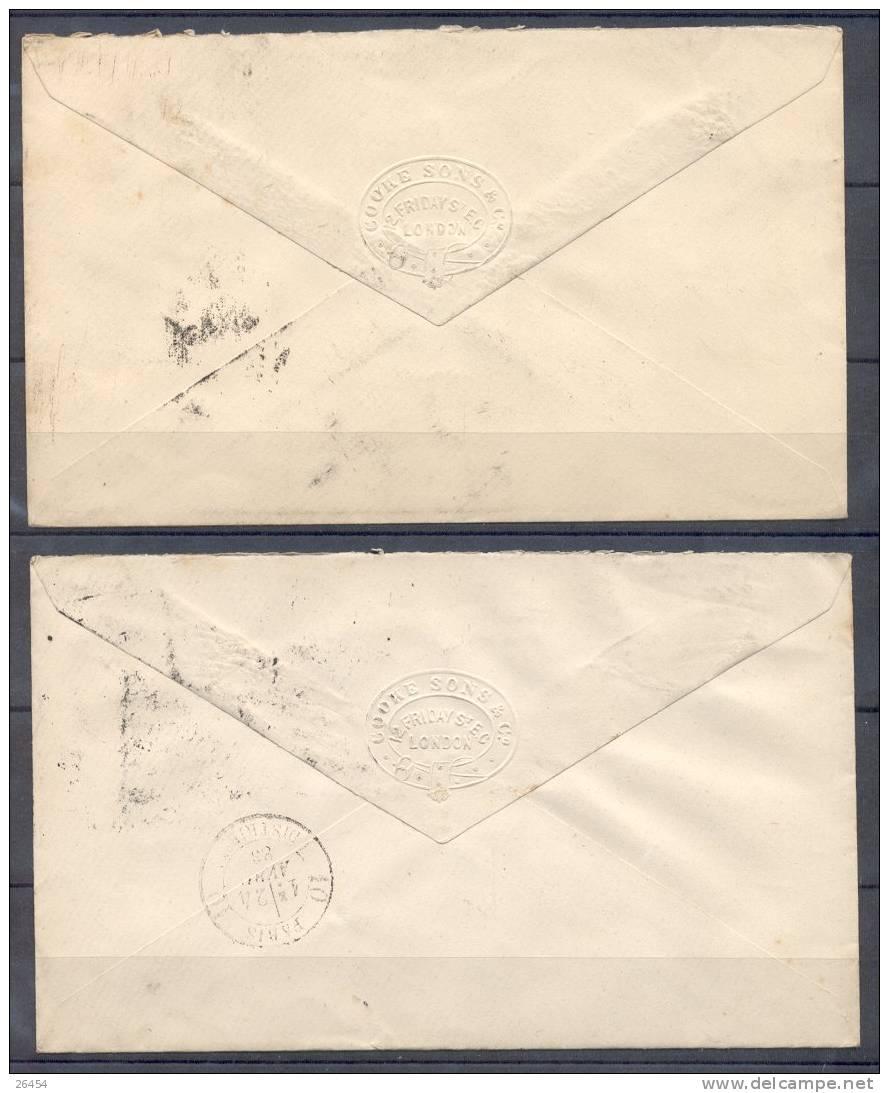 ENTIER POSTAL  Sur LETTRE     LOT  De 5   Pour PARIS   Annees  1883 - Entiers Postaux