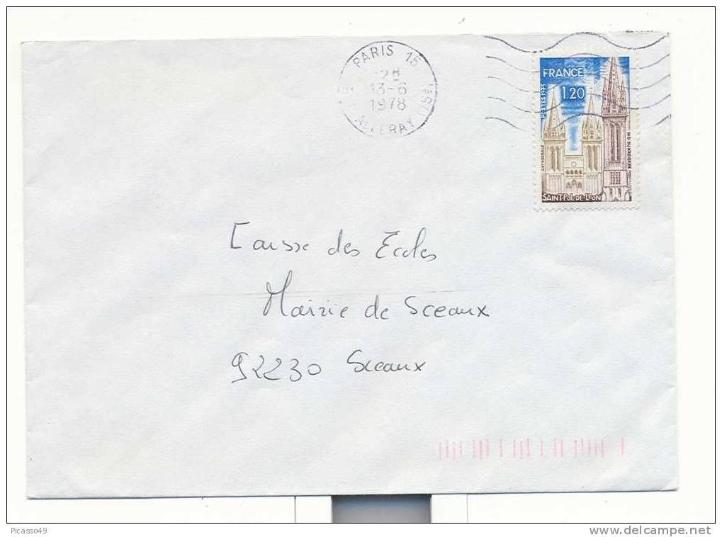 St Pol De Leon , N° 1808 Seul Du 13 6 1978 - Marcophilie (Lettres)