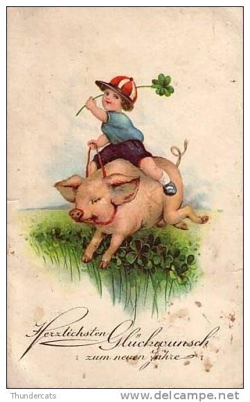 CPA  COCHON COCHONS  GARCON ** PIG  PIGS BOY  ** VARKEN  VARKENS - Cochons