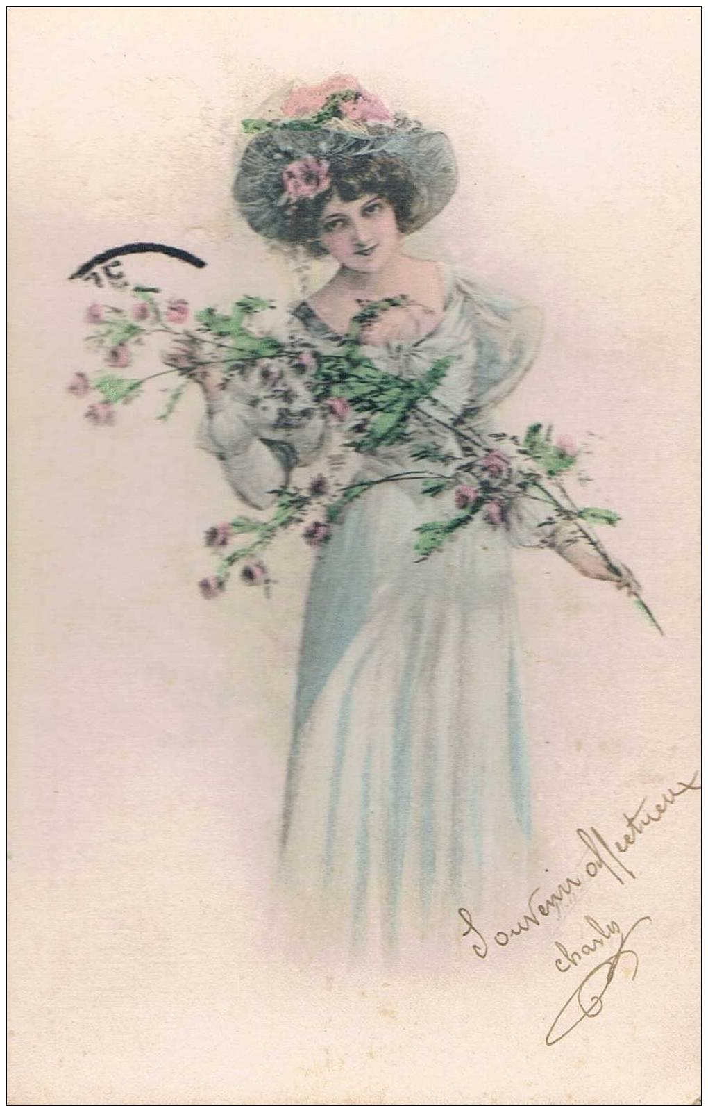 Carte Postale Ancienne - Femme Aux Fleurs- Dessin - Sin Clasificación
