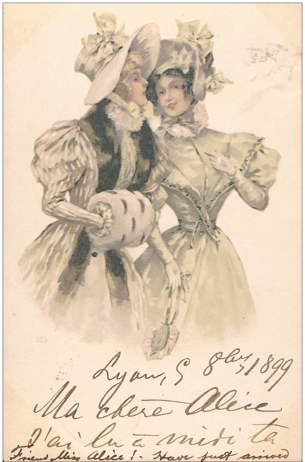 Carte Postale Ancienne De 1899- 2 Femmes - Dessin - Sin Clasificación