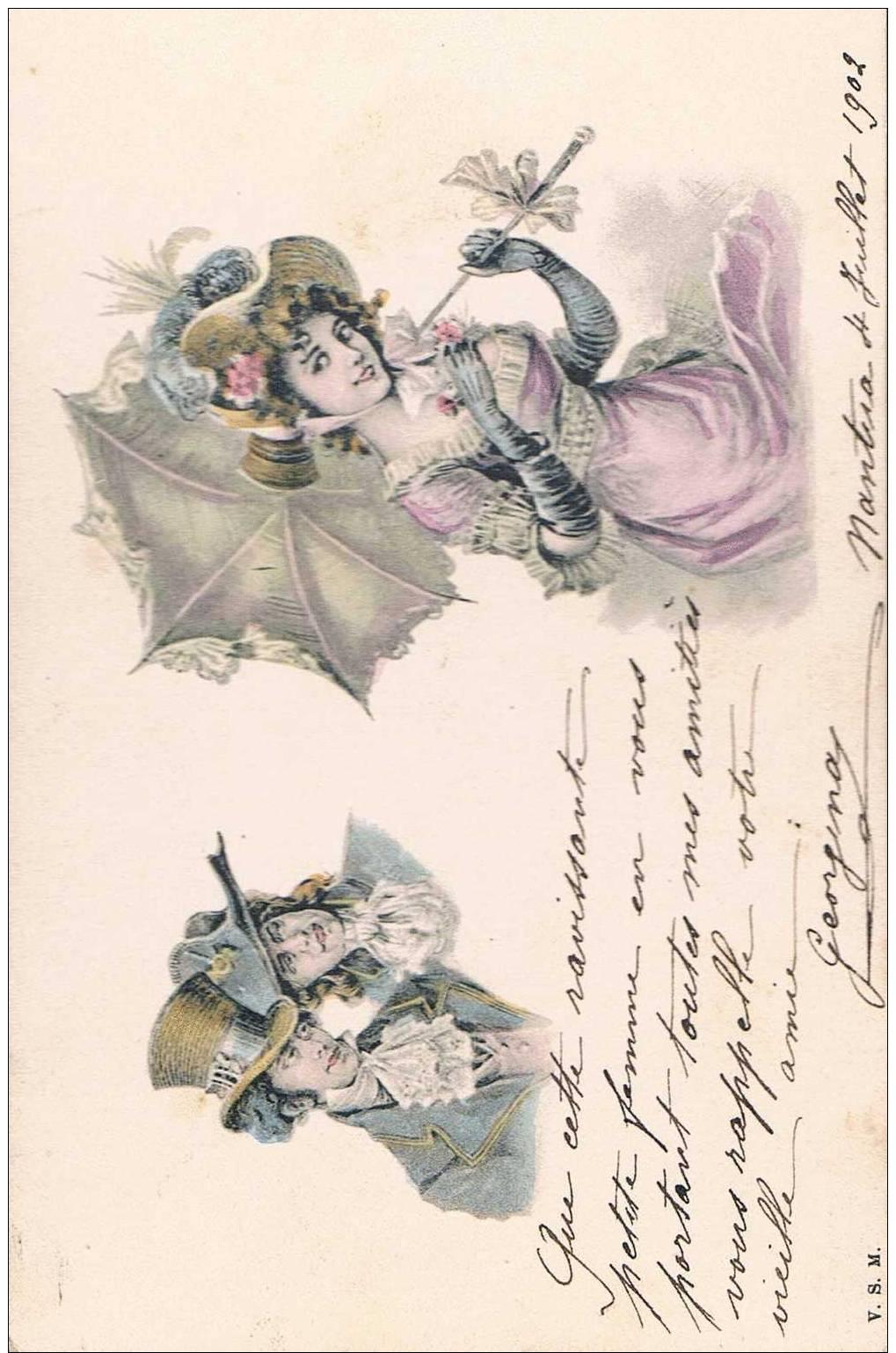 Carte Postale Ancienne - Dessin De Couple Et Femme - Parejas