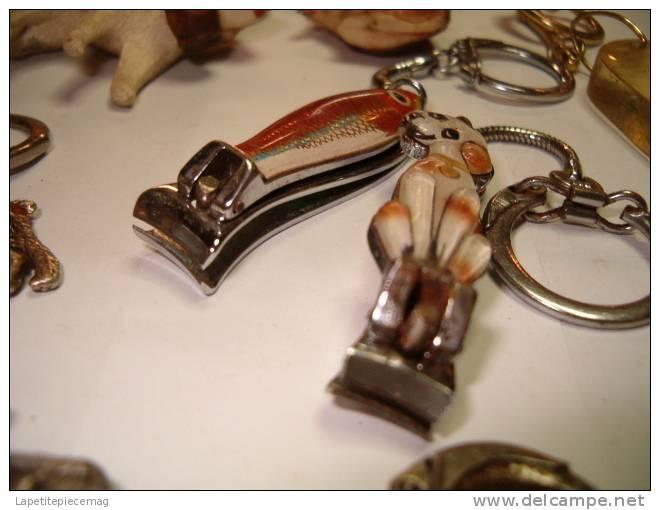 Lot De 13 Porte-clefs Anciens, Thème Annimaux. Chien Caniche Saint Bernard Sanglier Pelican Ecureuil Girafe Cochon Coq.. - Llaveros