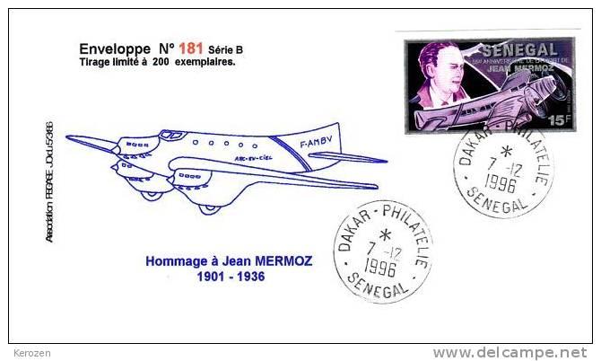 (0087) Env Hommage Jean Mermoz 1996 Timbre Non Dentelé - Poste Aérienne