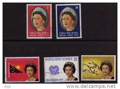 PAPOUASIE. Visite De La Reine Elisabeth II. Series Yv. # 267/8 & 320/2. Cote  6.00 €. 5 T-p Oblit. - Papua Nuova Guinea