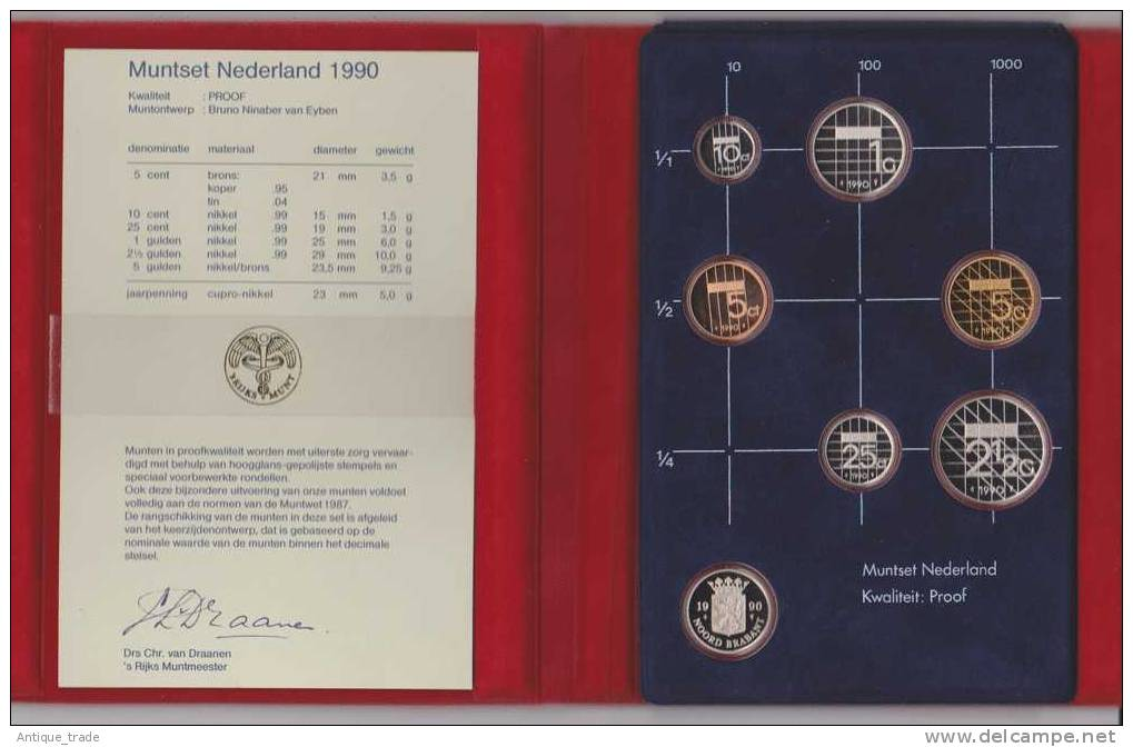 PAYS-BAS / NETHERLANDS : KM #PS36 -  6-coins & Medal Year Set (1990) PROOF In Official Folder - Pays-Bas