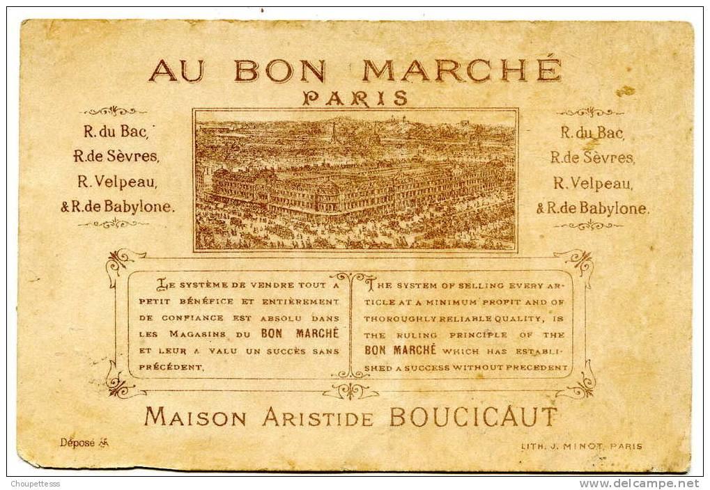 """Chromo  """" Au Bon Marché """" - Maison Aristide Boucicaut-  Capricorne Barbu ( Litho J. Minot ) - Au Bon Marché"""