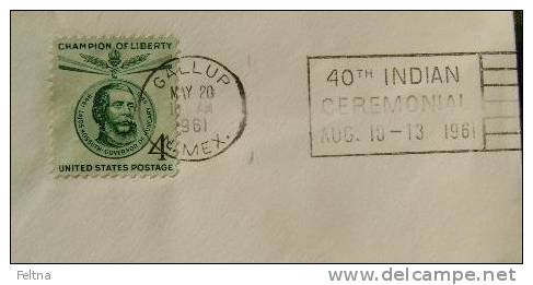 1961 GALLUP USA CANCELATION ON COVER 40th INDIAN CEREMONIAL - American Indians