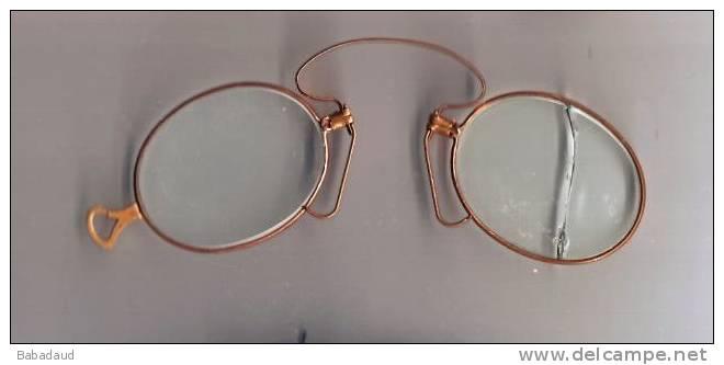 Pince-nez, Spectacles, Base Metal, Original Lenses (one Broken) - Glasses