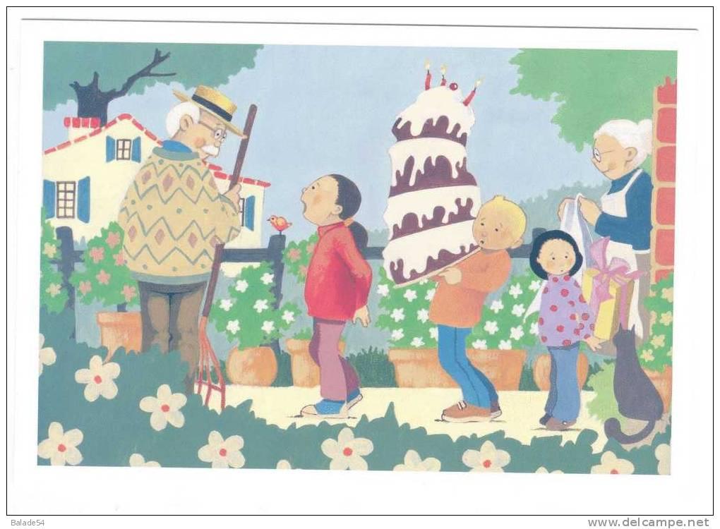 CPM - JOYEUX ANNIVERSAIRE - TNS SOFRES - (papy, Mamie, Enfants, Oiseau, Chat, Gateau Et Fleurs) - Geburtstag