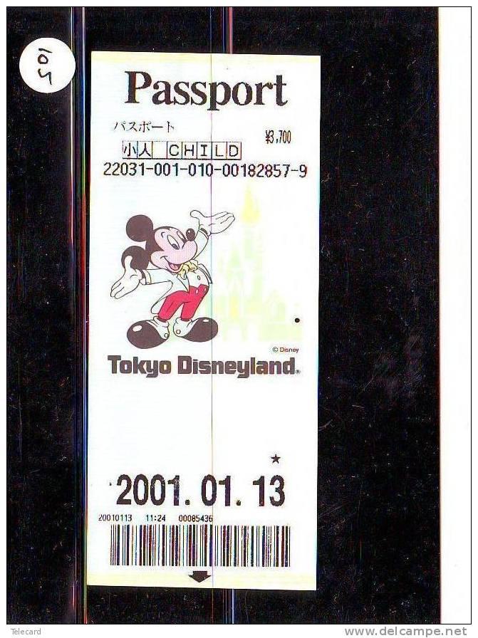 DISNEY PASSPORT JAPON * TOKYO DISNEYLAND JAPAN (105) PASS * TICKET * VINTAGE  * CHILD * 2001 - Disney