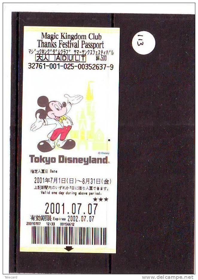 DISNEY PASSPORT JAPON * TOKYO DISNEYLAND JAPAN (113) PASS * TICKET * VINTAGE  * MAGIC KINGDOM CLUB * ADULT - Disney