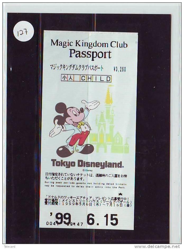 DISNEY PASSPORT JAPON * TOKYO DISNEYLAND JAPAN (127) PASS * TICKET * VINTAGE  * MAGIC KINGDOM CLUB * CHILD * 1999 - Disney