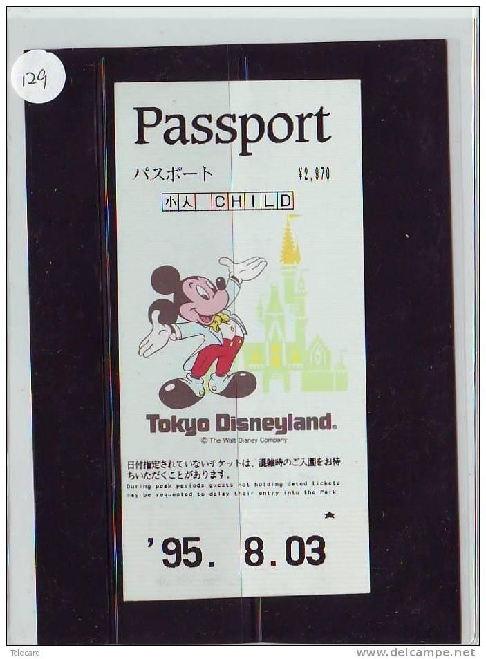 DISNEY PASSPORT JAPON * TOKYO DISNEYLAND JAPAN (129) PASS * TICKET * VINTAGE  * CHILD * 1995 - Disney