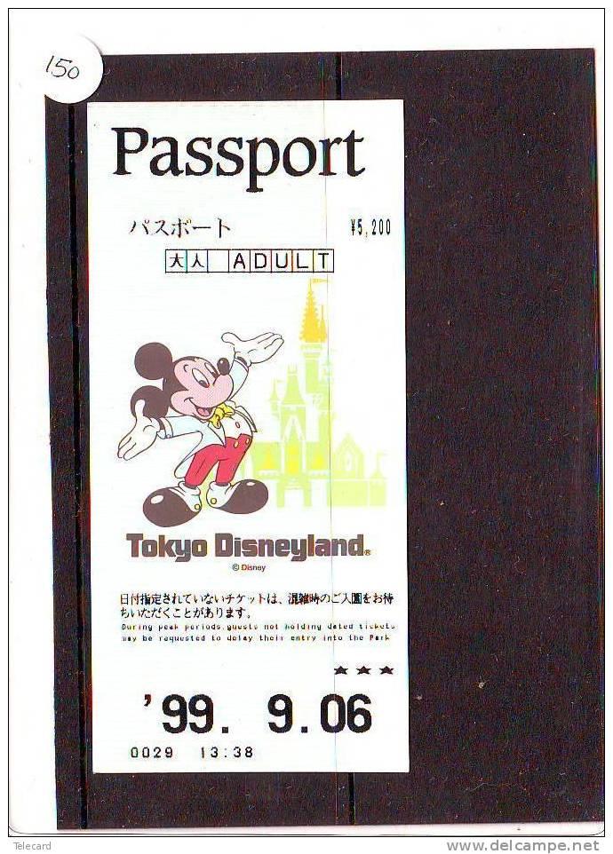 DISNEY PASSPORT JAPON * TOKYO DISNEYLAND JAPAN (150) PASS * TICKET * VINTAGE  *  ADULT * 1999 - Disney