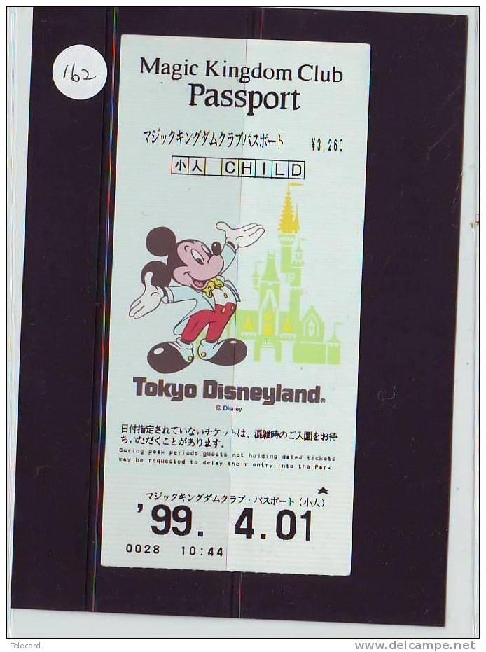 DISNEY PASSPORT JAPON * TOKYO DISNEYLAND JAPAN (162) PASS * TICKET * VINTAGE  * MAGIC KINGDOM CLUB * CHILD * 1999 - Disney