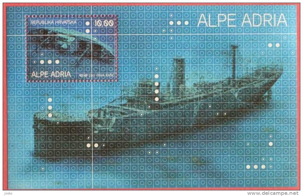 SUNKEN SHIPS OF THE ADRIATIC SEA ( Croatia Bloc MNH** ) Navires Coulés Cargo Ship Steamer Bateau à Vapeur Vapor Navire - Croatia