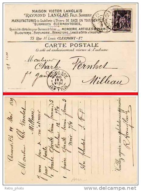 Clermont-Ferrand, CPa Précurseur, 1899, Pub Maison Victor Langlais, Mercerie, Bijouterie, Laines ... (adressée à Millau) - Clermont Ferrand