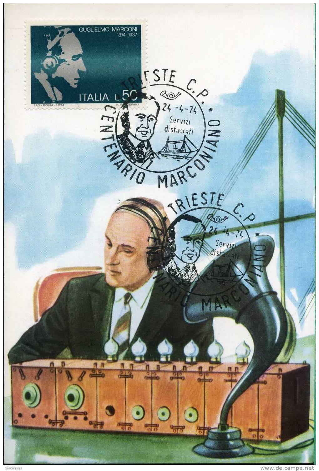 Centenario Nascita Guglielmo Marconi-maximum  Fdc- 24 Aprile 1974- 2 Pezzi- - Scienze